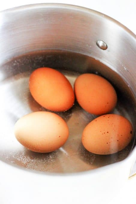 Boiling the eggs for Eggs Mayonnaise