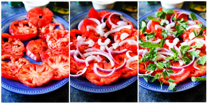 Process shots of making tomato feta salad