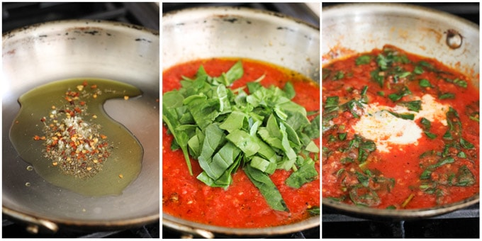 Process shots of making creamy spinach tomato sauce for baked eggs