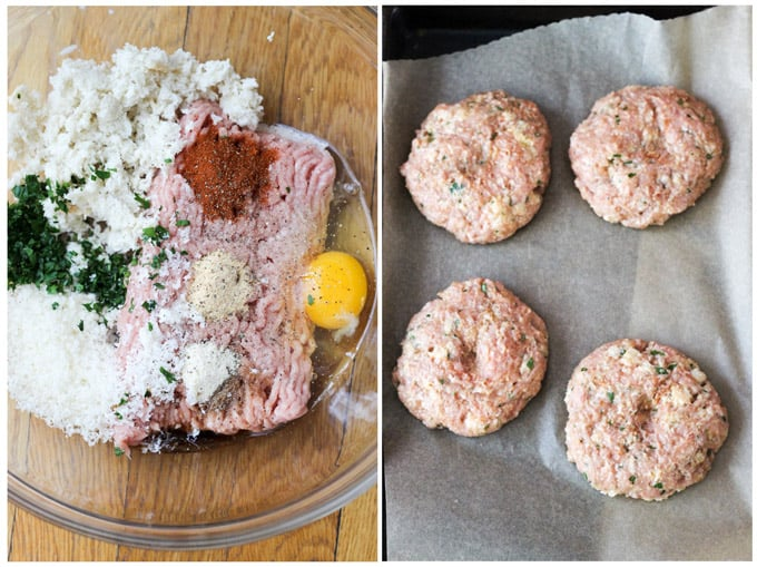 Process shots of making turkey burgers