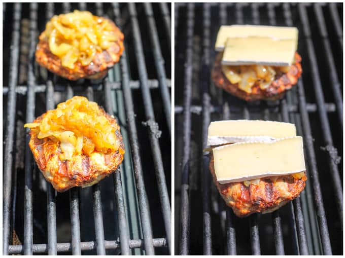 Grilling turkey burgers and adding onions and cheese - process shots