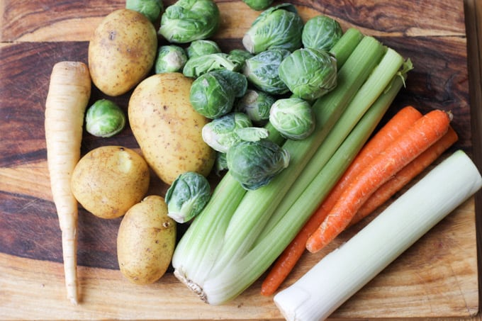 Ingredients for brussels sprouts soup