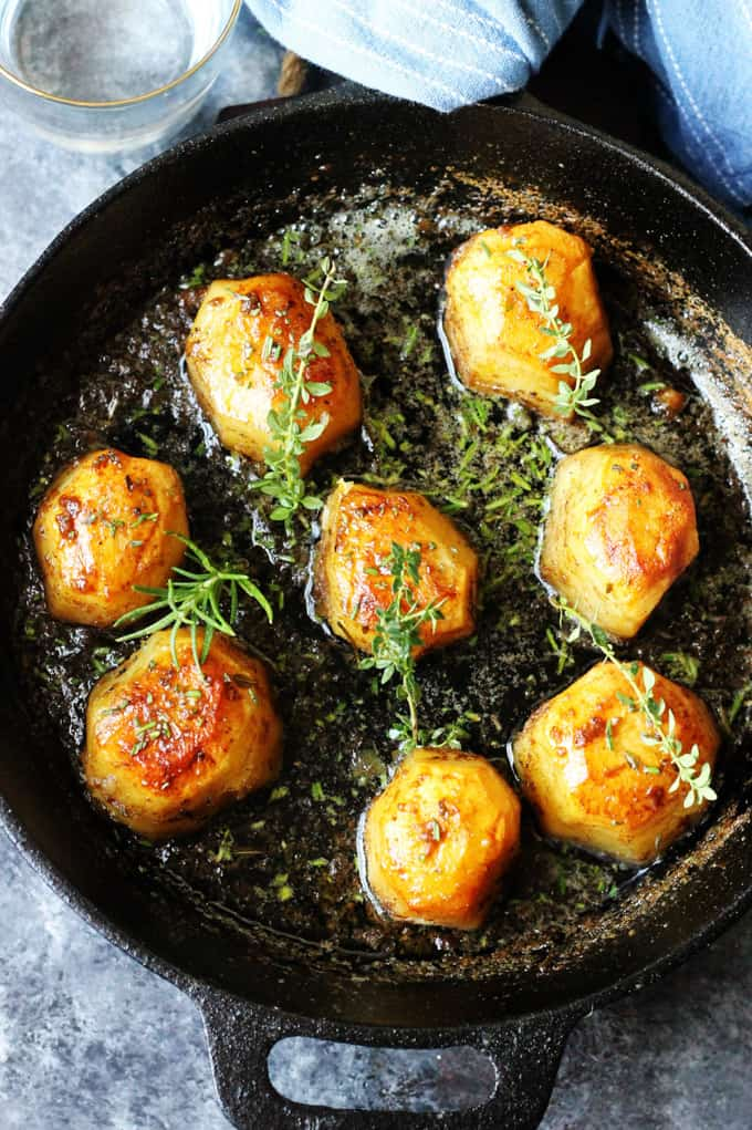 Idaho Fondant Potatoes in cast iron pan