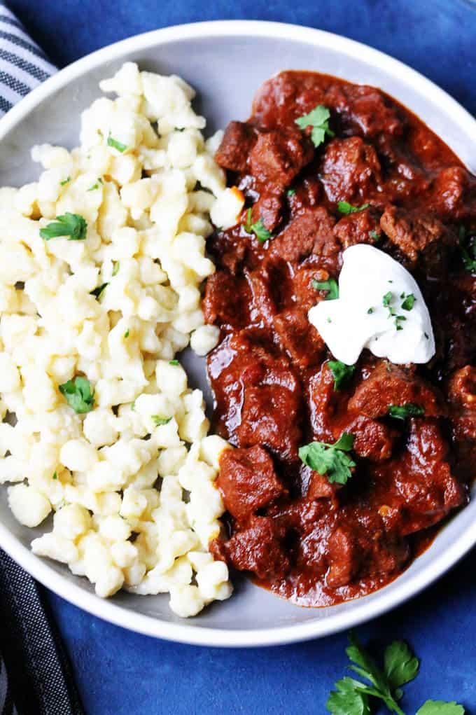 Hungarian stew with Nokedli