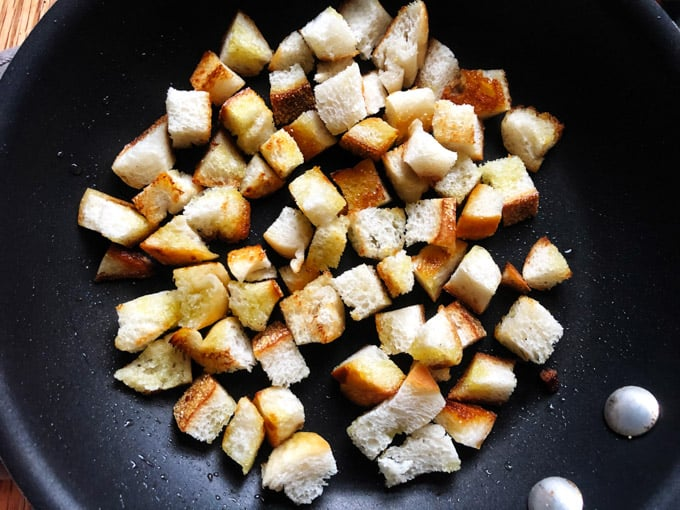 Bread croutons in a pan