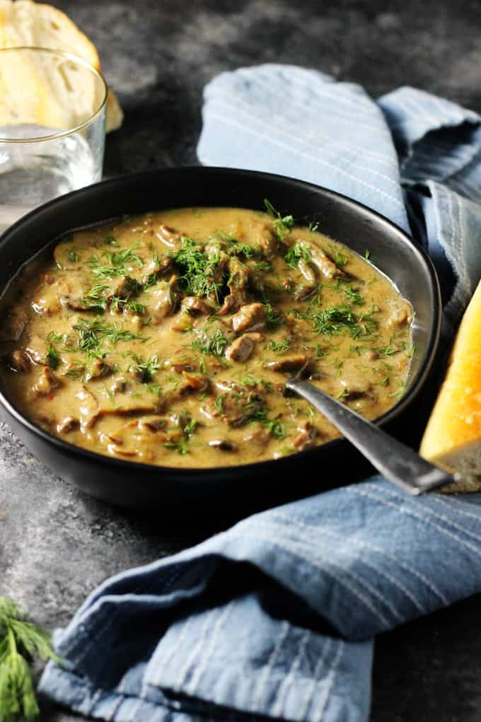 Instant Pot Beef Stroganoff in a bowl with spoon